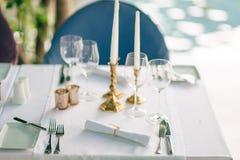 A table in a restaurant near the sea Stock Photos
