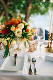A table in a restaurant near the sea Royalty Free Stock Image
