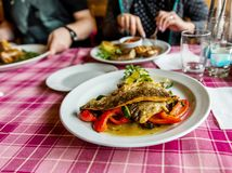 Table in restaurant with plates with food and people ´s hand. Dining in restaurant, table with plates with food, roasted trout with vegetable on plate in royalty free stock photo