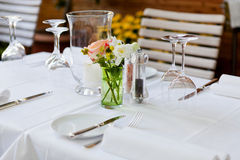 Table in restaurant tableware glass banquet summer Royalty Free Stock Photo