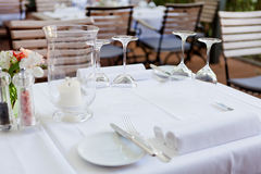 Table in restaurant tableware glass banquet summer Stock Photos