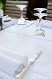 Table in restaurant tableware glass banquet summer Royalty Free Stock Photos