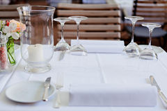 Table in restaurant tableware glass banquet summer Royalty Free Stock Images