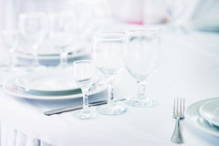 Table in restaurant. Wedding, decoration. Indoor. Glass Royalty Free Stock Images