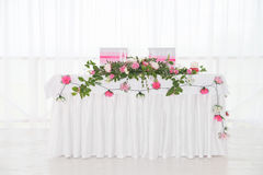 Table in restaurant. Wedding, decoration. For two Royalty Free Stock Photography