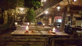 Table in resturant. Wood restuarant thai food Stock Photos