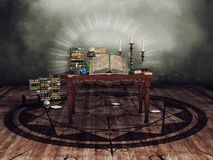 Table with ritual objects. Fantasy table with a magic book, potions, skulls, and candles stock illustration