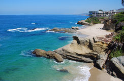 Table Rock Beach, Laguna Beach, California. Table Rock Beach in South Laguna Beach, California is a small, secluded, and public beach. The stairway entrance to royalty free stock photo