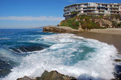 Table Rock Beach, South Laguna Beach, California. Table Rock Beach in South Laguna Beach, California is a small, secluded and public beach. The stairway stock photography
