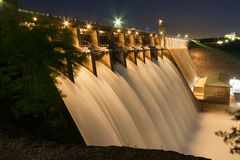 Table Rock Lake Dam at Night. Table Rock Lake Dam on May 4th, 2017 with the Army Corps of Engineers having all the gates open and flowing.  Table Rock Lake is Stock Photography
