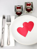 Table for romantic meal Stock Photos