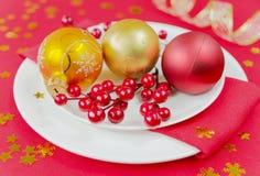 Table rouge de Noël Images libres de droits