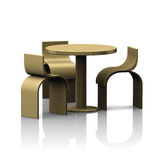 Table round bar and chairs gold Stock Images