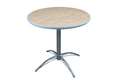 Table with round laminate top and stainless steel base. Stock Images