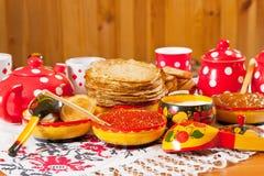 Table russe de Shrovetide Photographie stock libre de droits