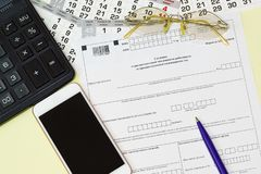 On the table is the Russian reporting form Information on the average number of employees for the previous calendar year stock image