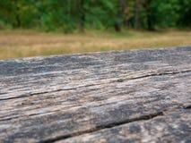 Table rustique vide devant le fond de campagne L'espace vide du dessus de table en bois de forêt verte devant des arbres dans pou images stock