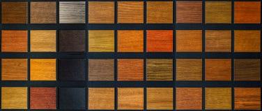 Table of samples of veneered wood Stock Photo