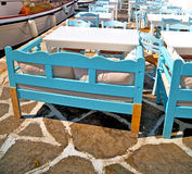 table in santorini europe greece old restaurant chair and the su Stock Photos