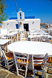 Table in santorini europe restaurant the summer Royalty Free Stock Photo