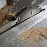 Table saw. A closeup view of the blade and cutting area of a large electric table saw Stock Photos