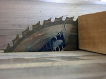 Table saw. Blade and lumber Stock Photos