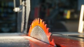 Table saw blade in the sunlight stock images