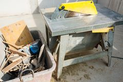 Table Saw at Construction Site Stock Images