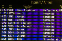 Table schedules flights arrival at the airport in Lviv, Ukraine Stock Photo