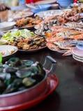 Table of sea food stock image