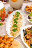 Table with seafood and salads Stock Images