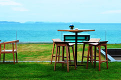 Table seaside evening Stock Photography