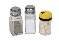 Table Seasonings. Salt and pepper shakers and a toothpick dispenser - path included Stock Photo