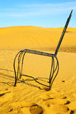 Table and seat in desert    yellow sand Stock Images