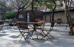 Table seating in the park. Royalty Free Stock Image