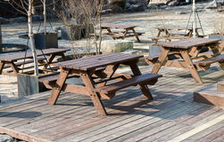 Table seating in the park. Royalty Free Stock Photography