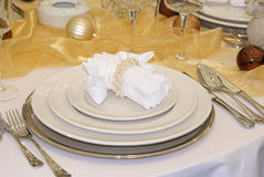 Table served. A table arranged for a luxury meal Stock Photo