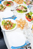 Table served with appetizers Stock Image