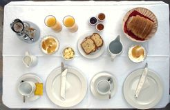 Table served, breakfast for two Royalty Free Stock Photo