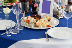 Table served for celebration and cheese board Royalty Free Stock Photo
