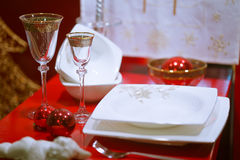 Table served for Christmas dinner, close-up view Stock Image