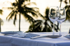 Table served for dinner. Table served for dinner with palms on the background Stock Image