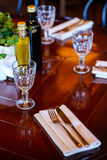 Table served before dinner in the luxury restaurant Royalty Free Stock Photography