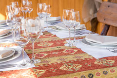 Table served with dishes, close up Stock Photo