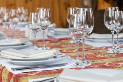 Table served with dishes, close up Stock Photos