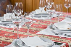 Table served with dishes, close up Royalty Free Stock Photos