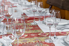Table served with dishes, close up Stock Photography