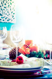 Table served for festive dinner. Close up view Royalty Free Stock Photo