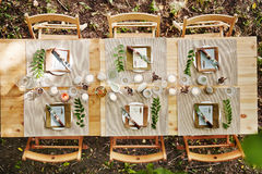 Table served for guests Stock Photography
