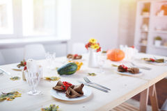 Table served for guests Stock Photo
